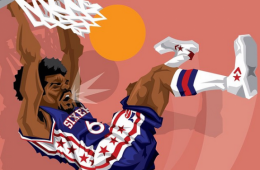 Julius Erving 'Slam Dunk' Caricature Art