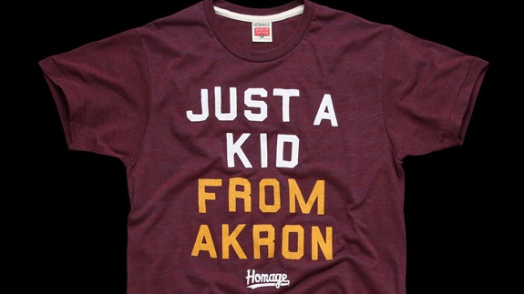 768d9586ceb Homage x LeBron James  Just A Kid From Akron  Tee – Hooped Up