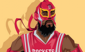 James Harden 'Luchador' Caricature Art
