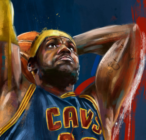 lebron james nba playoffs painting hooped up