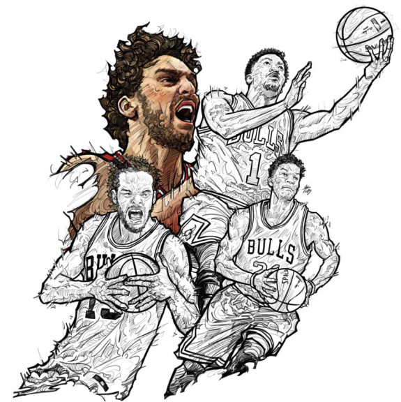 Rising Chicago Bulls Illustration