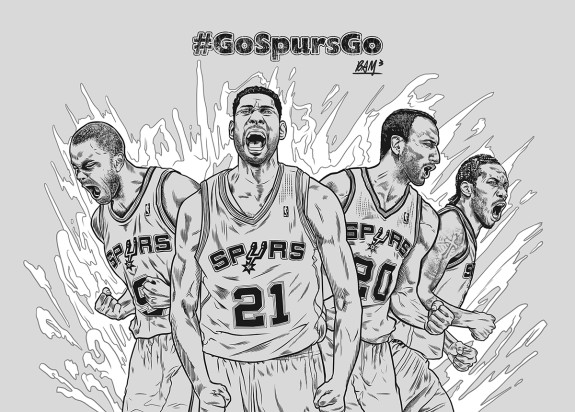 San Antonio Spurs Big Four Illustration