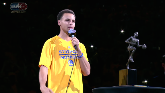 Stephen Curry Accepts MVP Trophy In Oakland