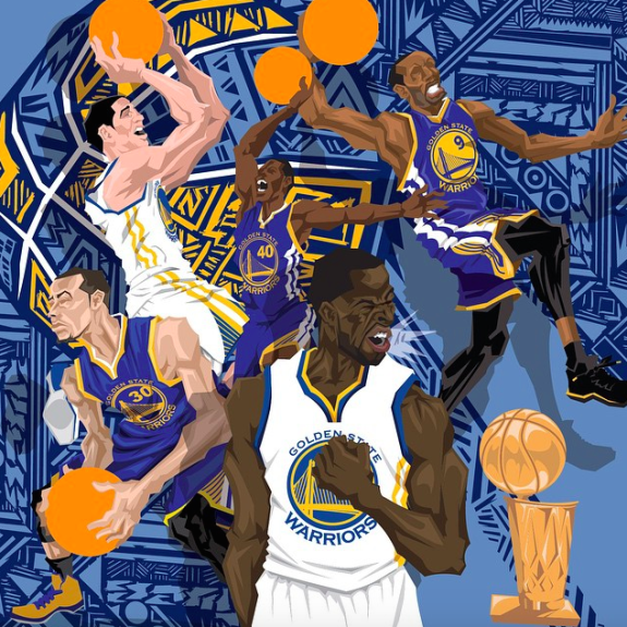 Golden State Warriors 'Champions' Caricature Art