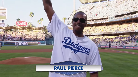 Paul Pierce Throws a Bouncing First Pitch at Dodgers Game