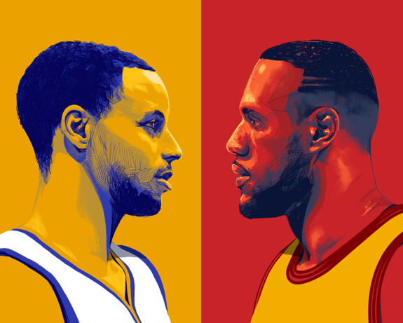 4700005e2a31 Stephen Curry vs LeBron James Illustration. Hooped Up ...