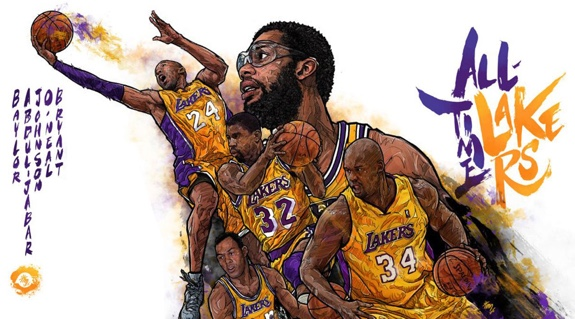 All-Time Los Angeles Lakers Illustration