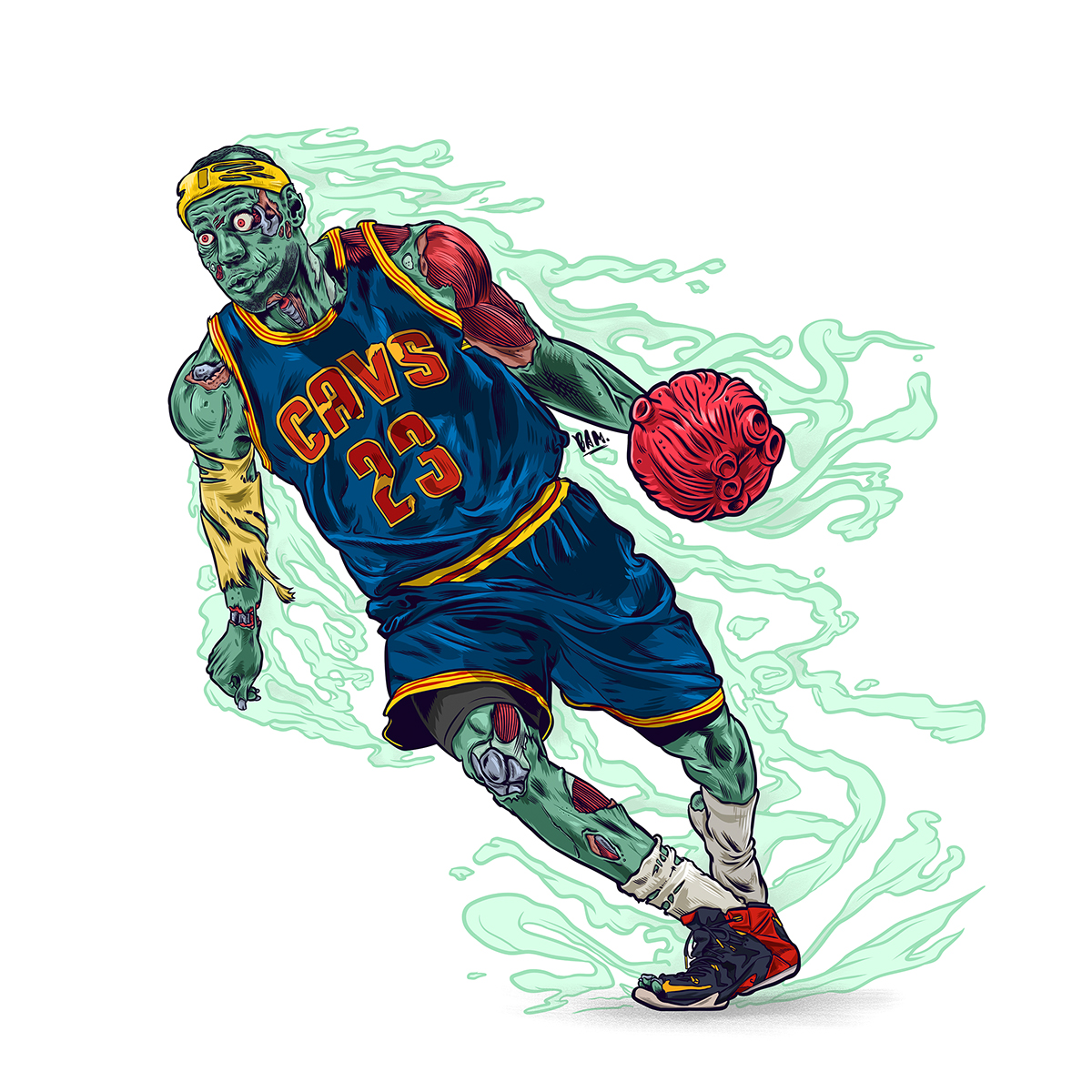LeBron James Zombie Illustration