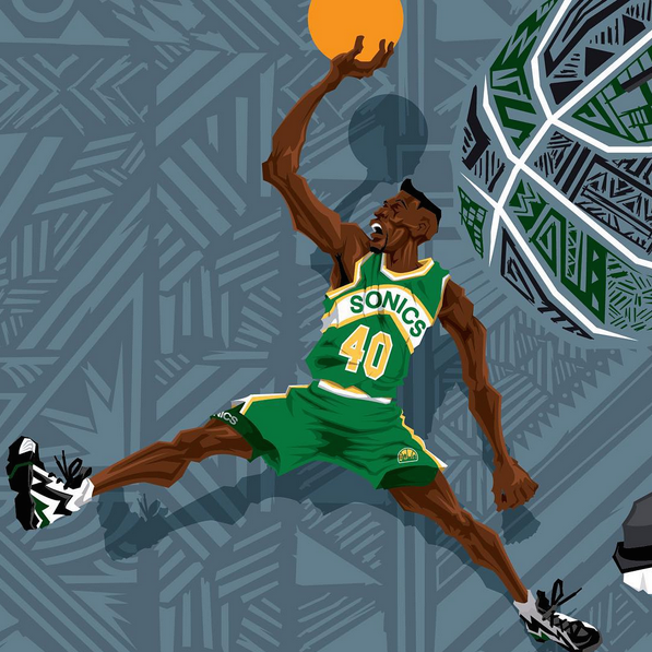 Shawn Kemp  Reebok Kamikaze 2  Caricature Art – Hooped Up 8d89ade49