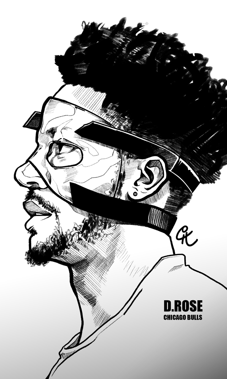 Derrick Rose Masked Man Sketch