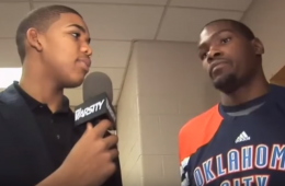 Karl-Anthony Towns Interviewing Kevin Durant