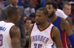 Kevin Durant Gets a Double-Double In Detroit