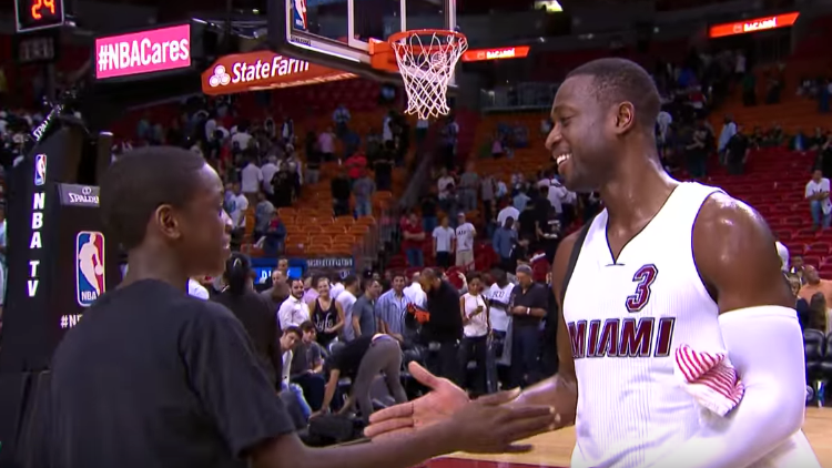 Dwyane Wade Pours In 28, Son Approves