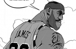 LeBron James Batman v Superman Illustration
