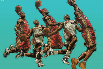 LeBron James Five Kings Illustration