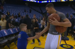 Stephen Curry Does His Pregame Dribbling Routine with a Young Fan