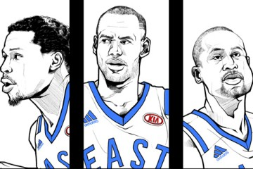 2016 East vs West All-Star Starters Illustration