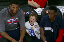 Andre Drummond Hangs Out with Random Kid On Pistons Bench