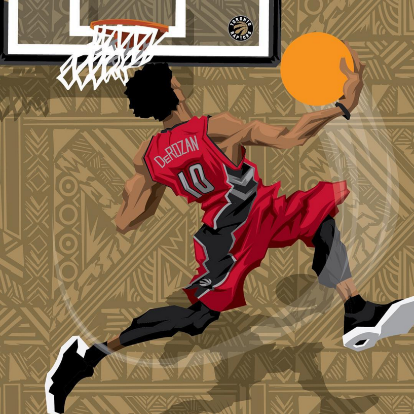Demar DeRozan Sneak Attack Caricature Art