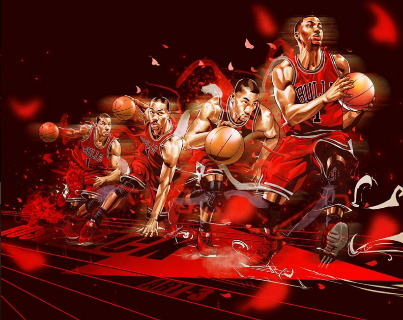 Derrick Rose Fast Don't Lie Action Illustration