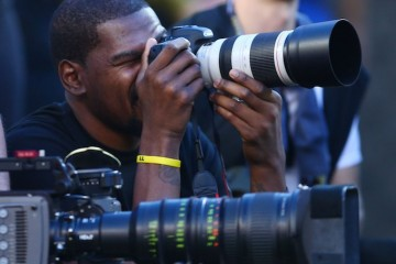 Kevin Durant Moonlights as a Cameraman at Super Bowl 50