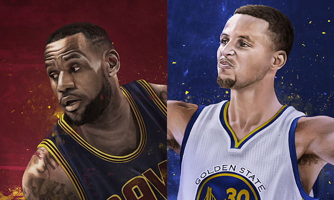 e848884c7ab LeBron James vs Stephen Curry Illustration – Hooped Up