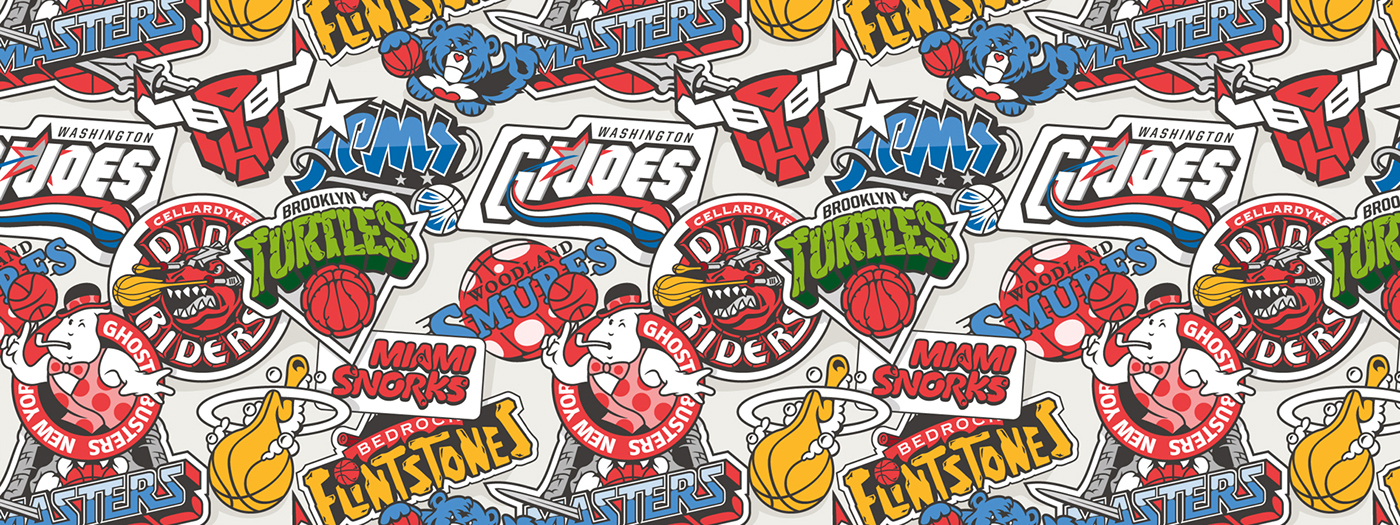 NBA Logos x Retro Cartoons