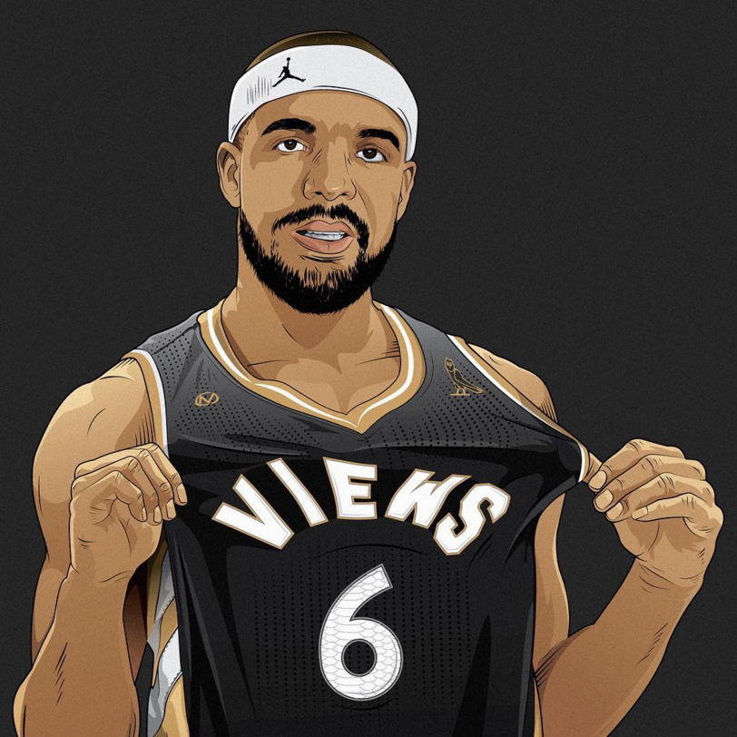 Drake x Toronto Raptors Views Illustration
