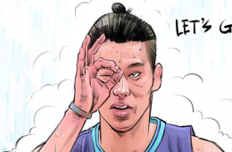 Jeremy Lin On Playoff Fire Illustration
