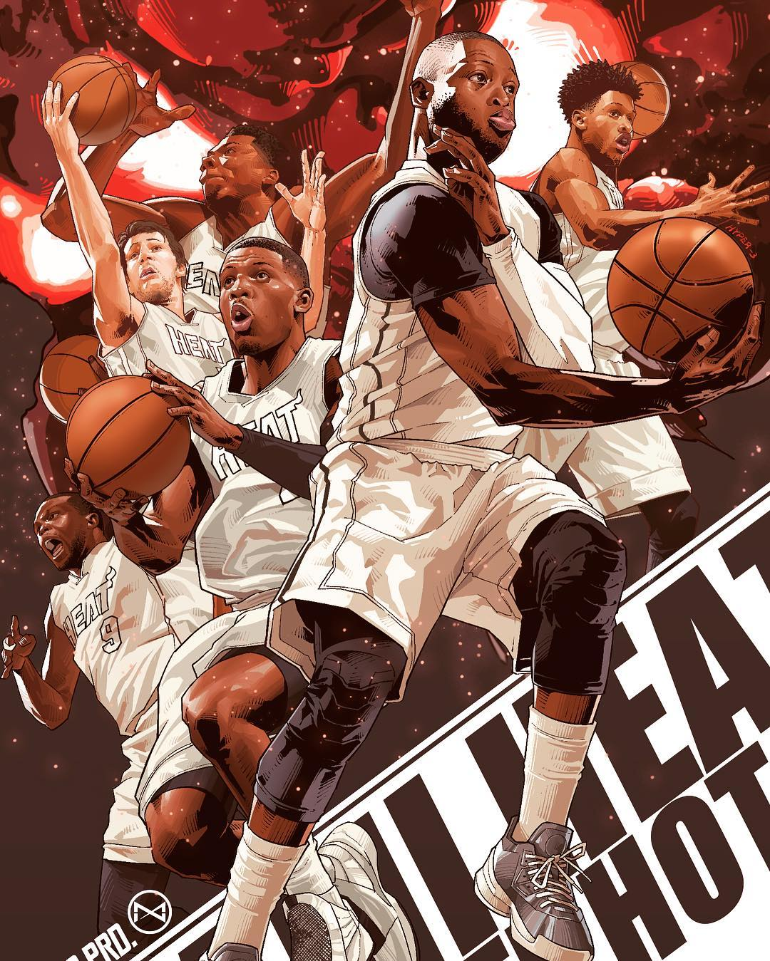 Miami Heat Playoff Squad Illustration