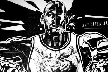 Michael Jordan Black Cat Cyborg Illustration