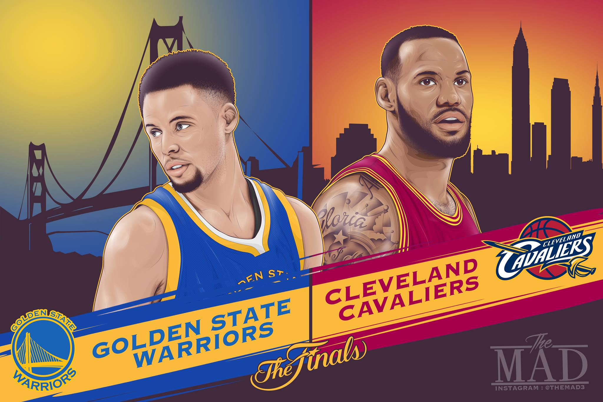 Cavaliers vs Warriors NBA Finals Game Two Illustration