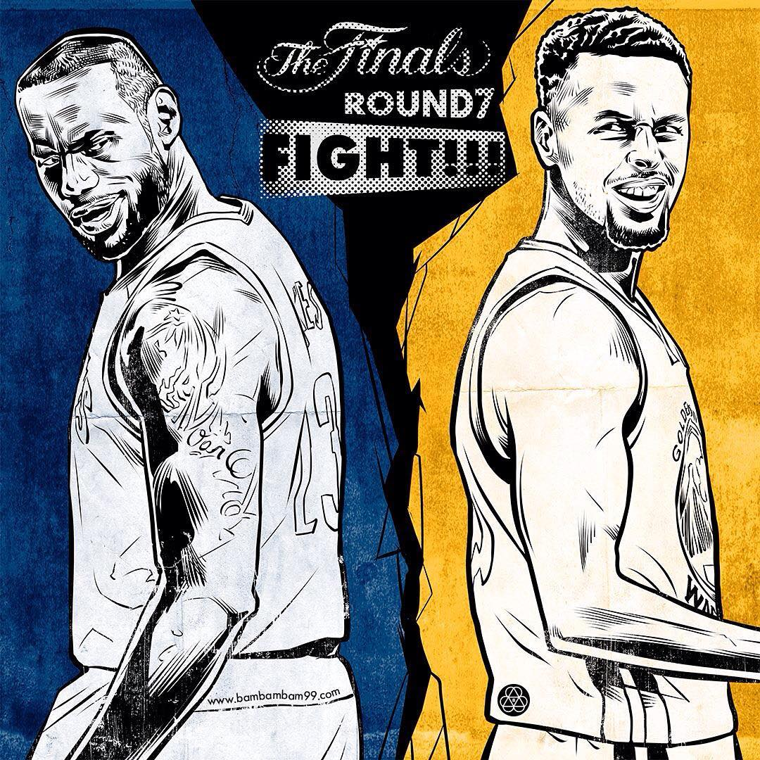Cavaliers vs Warriors Game 7 Fight Illustration
