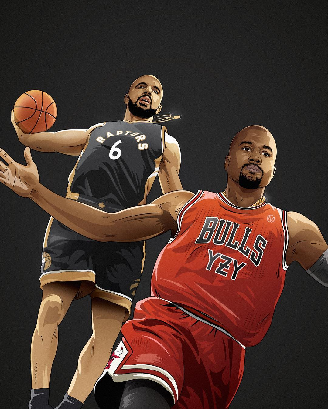 Drake x Kanye West Calabasas All-Star Game Art