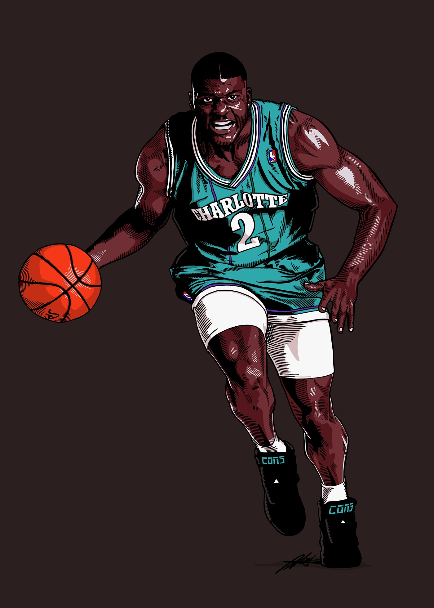 Larry Johnson 90's Basketball Ad Illustration