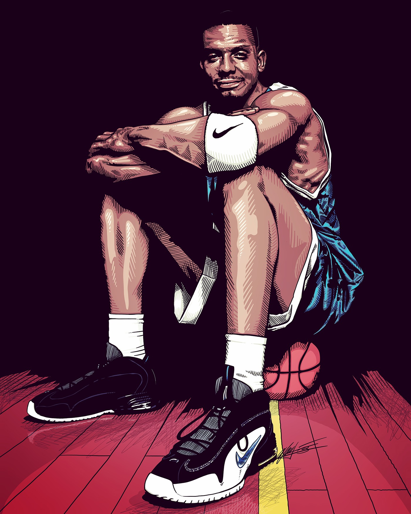 Penny Hardaway 90's Basketball Ad Illustration