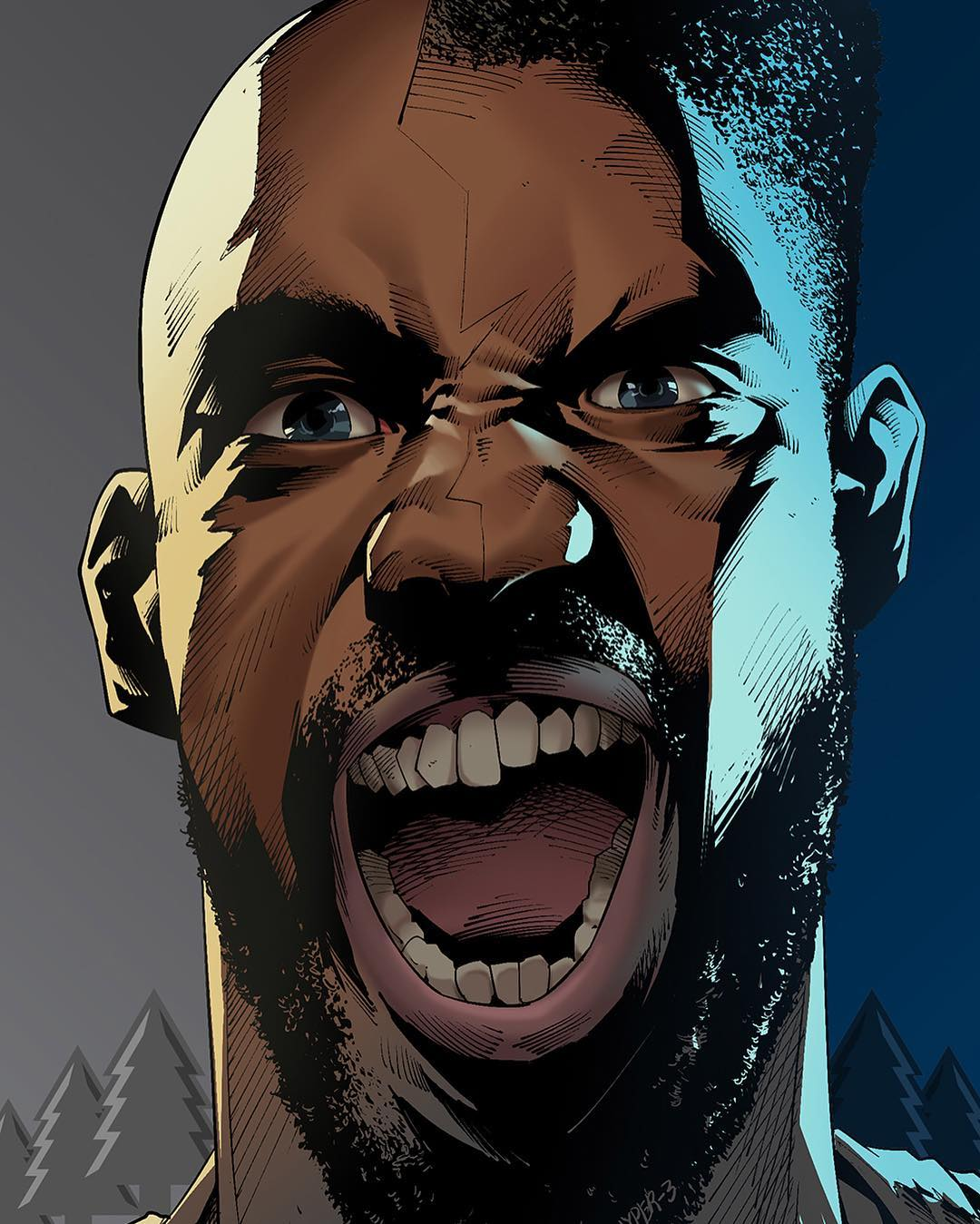 Kevin Garnett x Karl-Anthony Towns Wolf Man Illustration